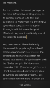 Screenshot of Byword for iPhone