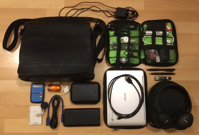 Photo of my bag and its contents (start of 2018)