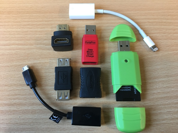 Photo of assorted computing adapters