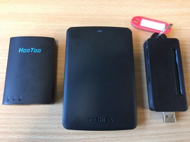 Photo of travel router, hard drive and Raspberry Pi Zero W